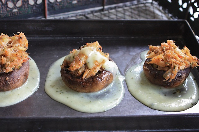 Crabmeat Stuffed Mushrooms with Blender Hollandaise