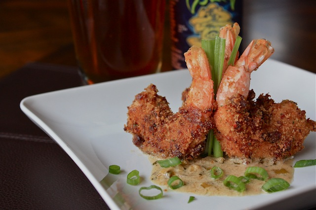 Andouille Crusted Jumbo Louisiana Shrimp with Brown Butter Cream Sauce