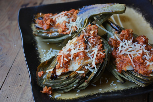 Grilled Artichokes with Provolone and Sun Dried Tomato Pesto Sauce