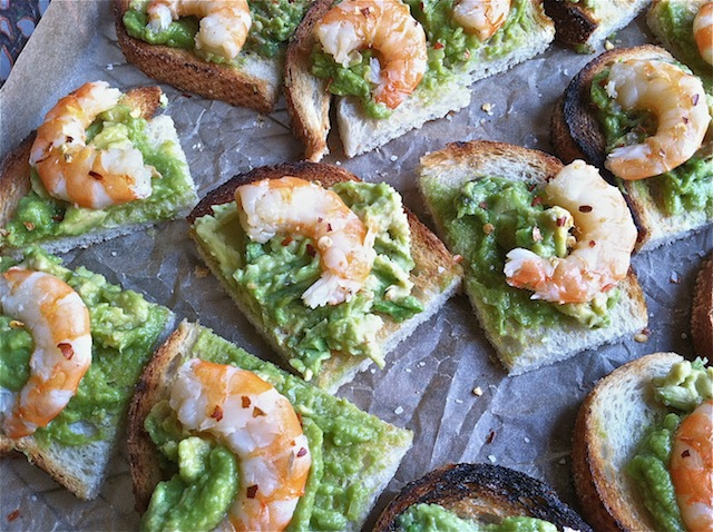 Grilled Bread with Smashed Avocados and Shrimp
