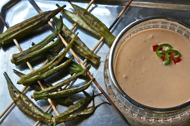 Grilled Okra with Jalapeño-Tomato Ranch Dressing