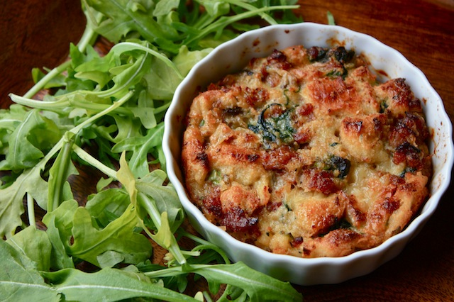Andouille, Spinach-Mushroom and Brie Bread Pudding