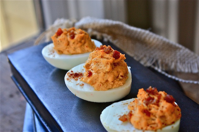 Finger Food Friday -- Chipotle Bacon Deviled Eggs