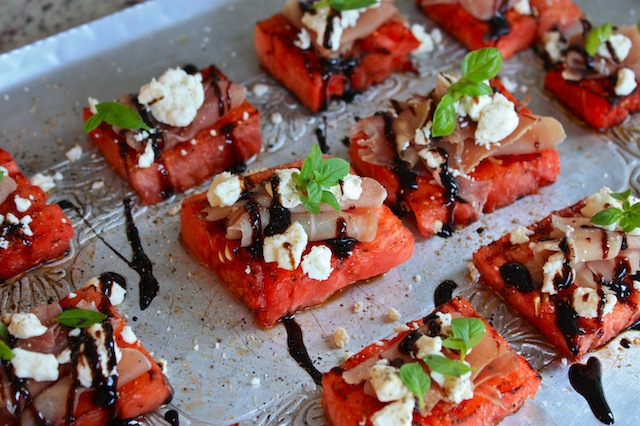 Grilled Watermelon with Prosciutto and Feta