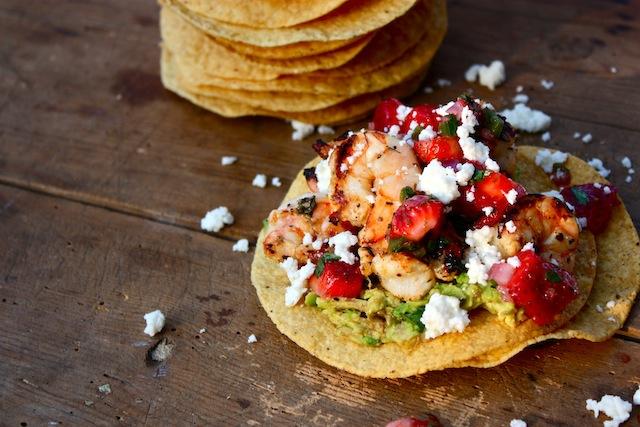 Margarita Shrimp Tostadas with Strawberry Salsa