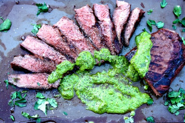 Recipe for Grilled Flat Iron Steak With Chimichurri